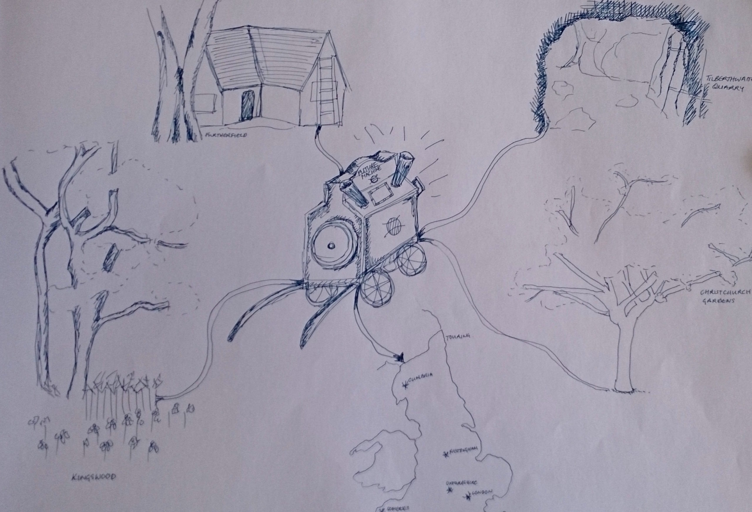 sketch of the Future Machine travelling to Finsbury Park, Tilberthwaite Quarry, Christ Church Gardens, Kingswood and a map of england showing where each place is on the map