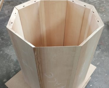 octagonal Ash wood frame with view inside and beautiful wood markings on panels