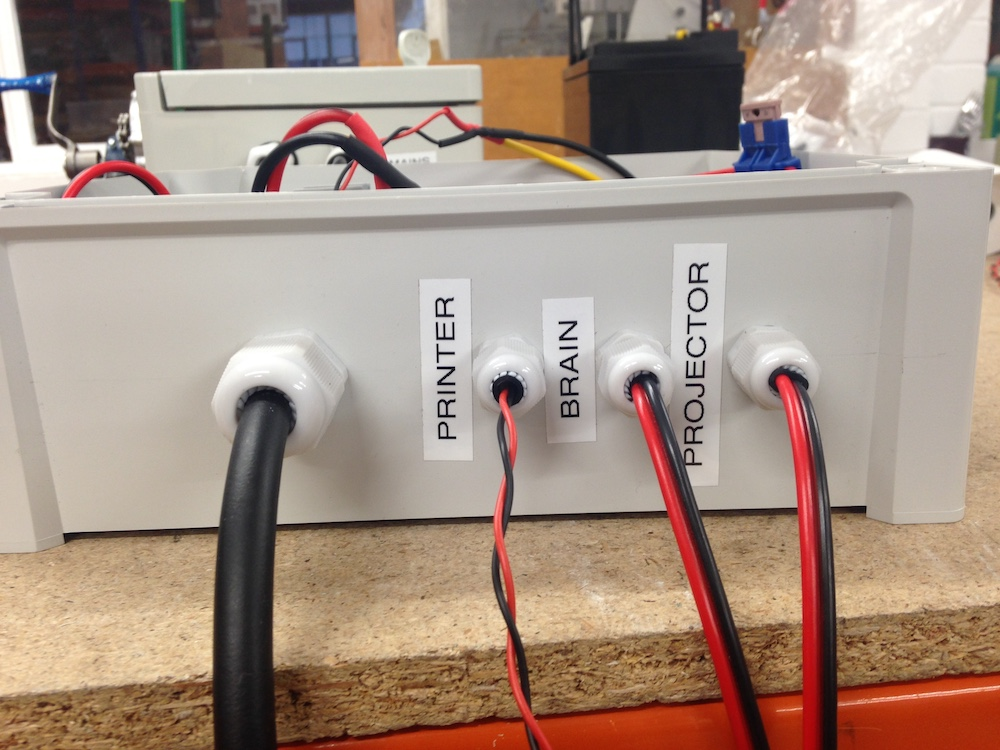 power connectors to printer, brain and projector