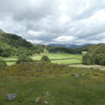 looking across Tilberthwaite valley to the Langdales, cloudy sky with a patch of blue