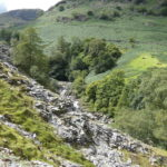 looking down onto slate quarry, Tilberthwaite Ghyll and the fells