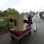 The Future Machine being pulled up to the athletics track by Rachel Jacobs and Ruth Catlow in Finsbury Park
