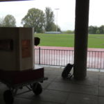 Future Machine in shadow with the athletics track behind in Finsbury Park