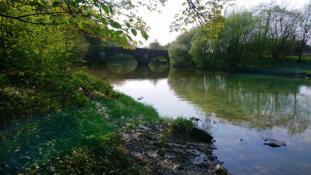 Down river on the Leven, the stone bridge and trees on the banks, the water, stones, grass, wild garlic and slate