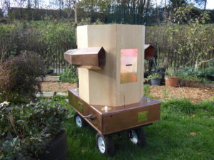 Future Machine in the sun in the garden of the Drumming School in Finsbury Park