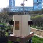 Future Machine and weather station in the drumming school garden with the new large Finsbury Park development in the background
