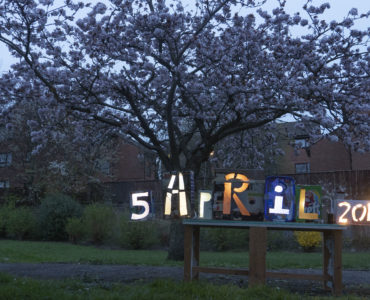 Light boxes celebrating the when this tree blossomed 5 April2019