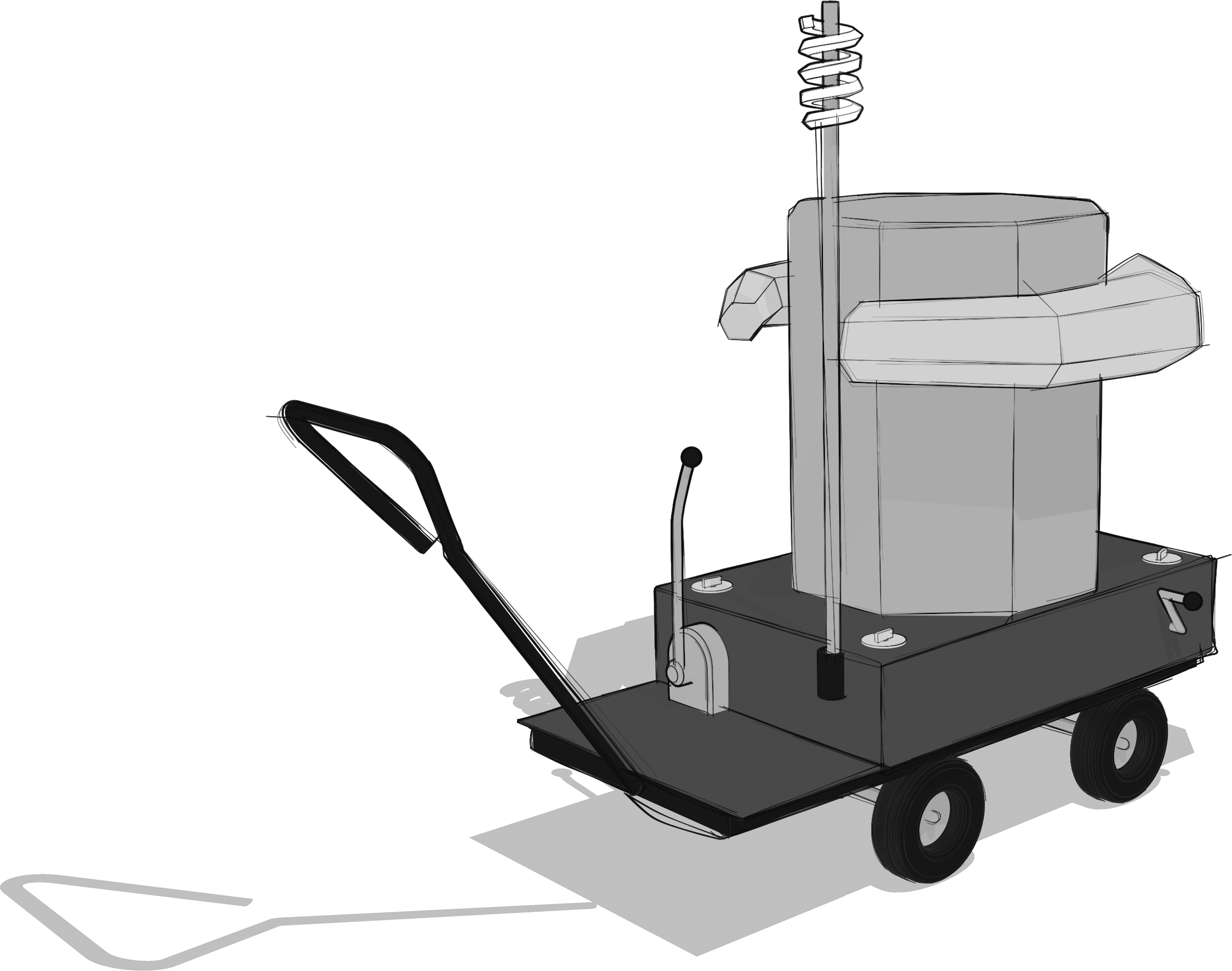 grey scale sketch of the Future Machine from the back angle with the lever, weather station and hand crank handle in view