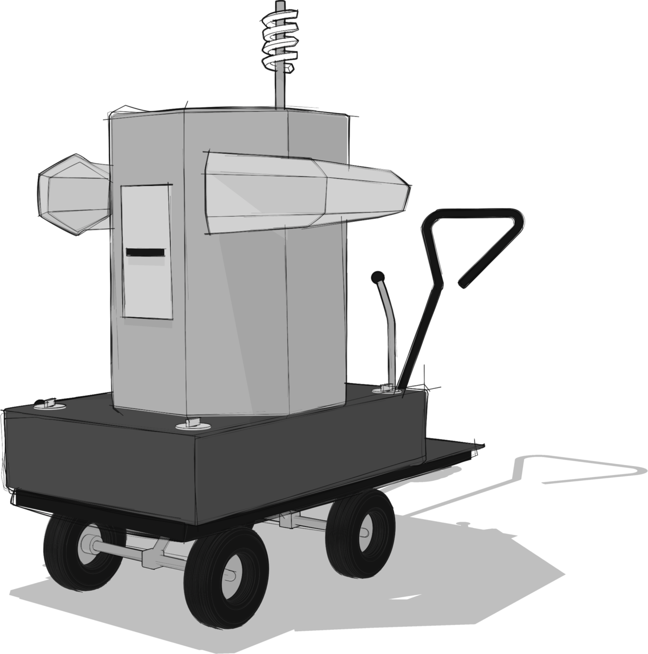 grey scale sketch of the Future Machine from the side angle