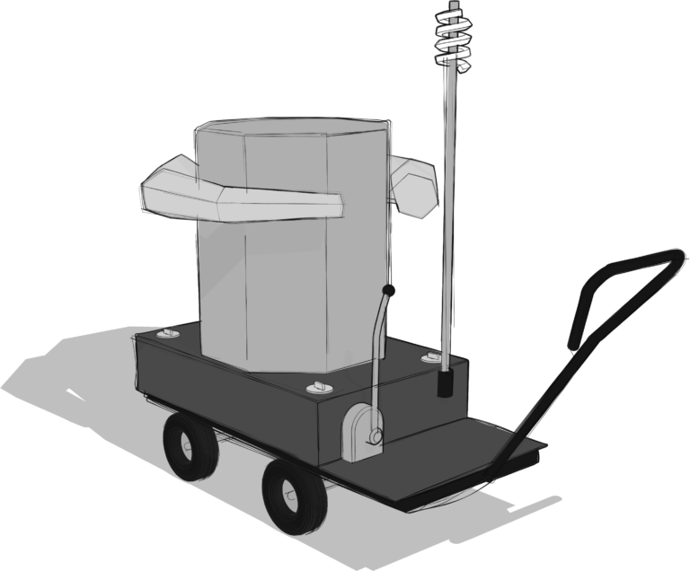 grey scale sketch of the Future Machine from the back angle with the lever and weather station in view